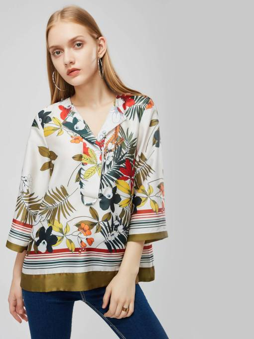 Mixed Print Color Block Notched Lapel Women's Blouse