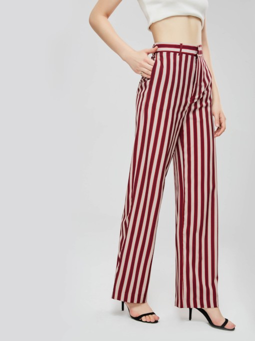 Striped Color Block Straight Women's Casual Pants