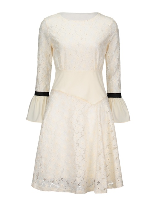 Bell Sleeve High Waist Women's Lace Dress