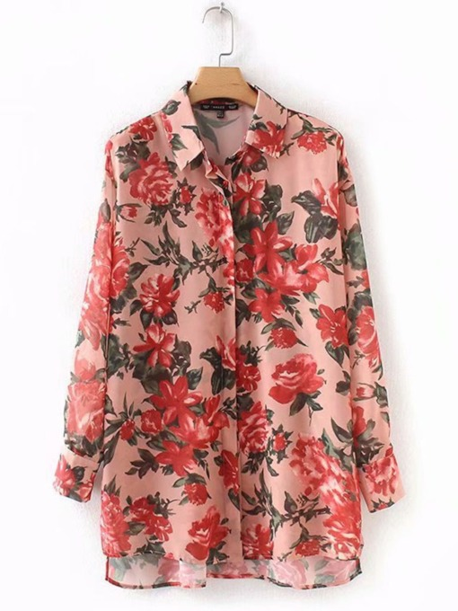 Floral Button Down Mid Length Women's Shirt