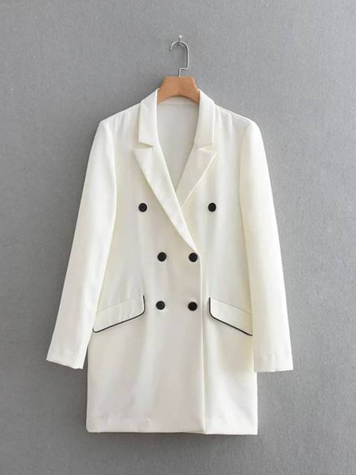 Mid Length Contrast Color Double-Breasted Women's Blazer