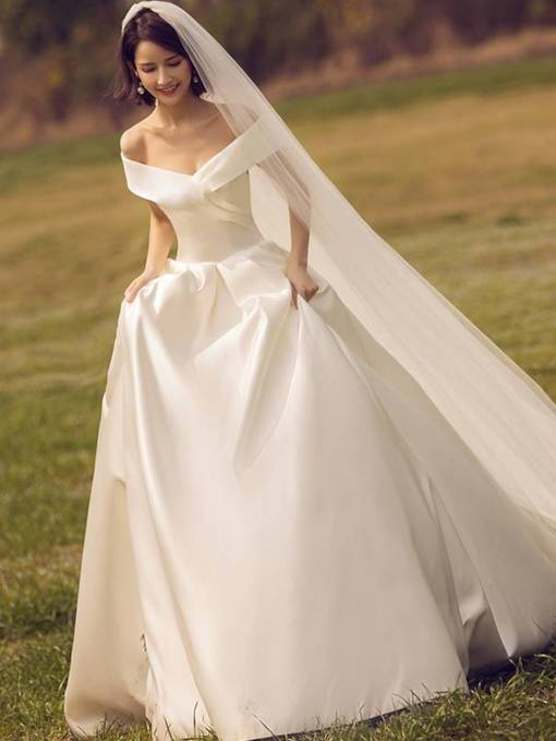 Off the Shoulder Lace-Up Matte Satin Wedding Dress