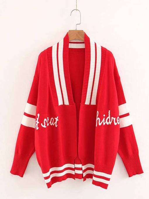 Preppy Style Letter Stripe Open Front Women's Sweater Coat