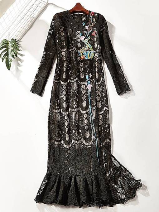 Long Sleeve Floral Embroidery Lace Dress