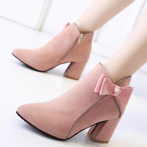 Bowknot Side Zipper Pointed Toe Ladylike Women's Ankle Boots