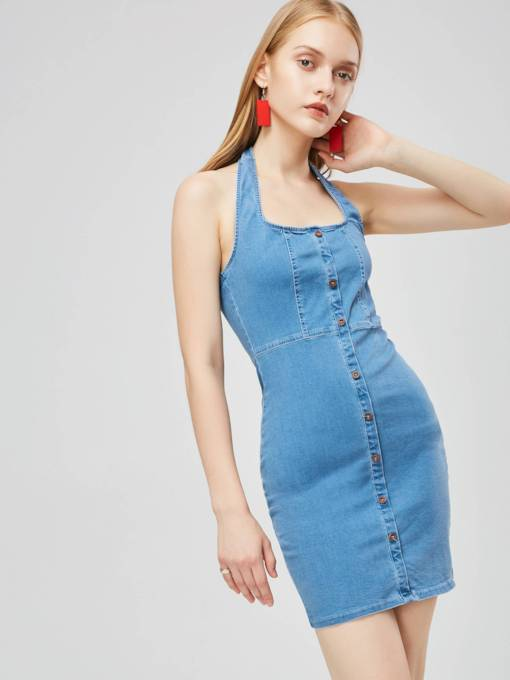 Square Neck Sleeveless Button Day Dress