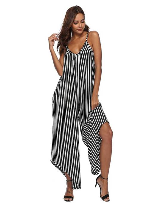Stripe V Neck Strap Loose Women's Jumpsuit