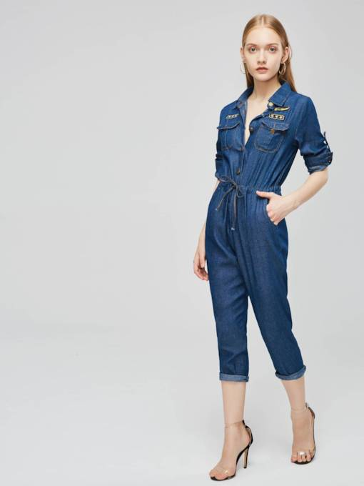 Denim Long Sleeve Pocket Women's Jumpsuit