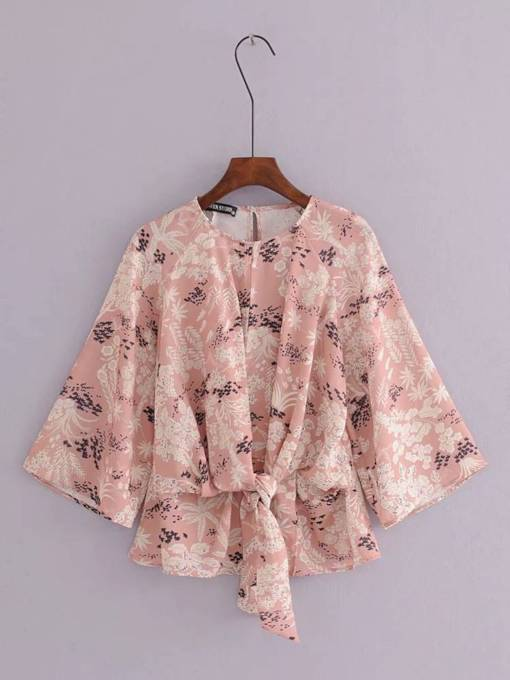 Tie Front Floral Tight Waist Chiffon Women's Blouse