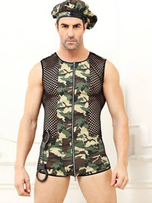 Men's Sexy Lingerie Camouflage Zipper Military Costume