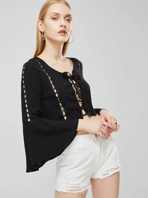 Criss Cross Flare Sleeve Hollow Out Women's Blouse