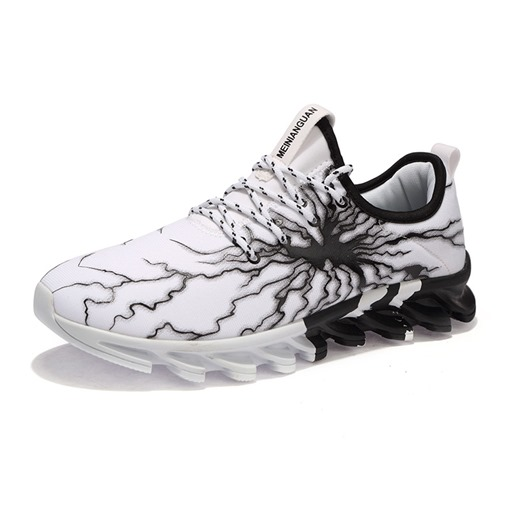 Round Toe Lace-Up Crack Printed Men's Trainers