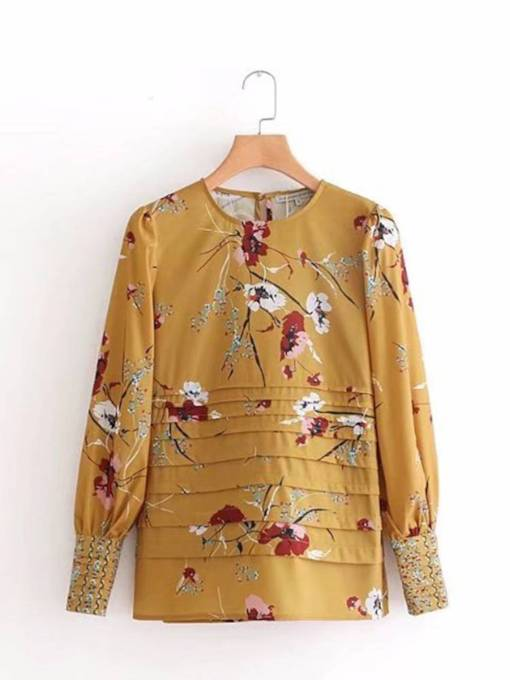Floral Scoop Neck Lantern Sleeve Women's Blouse