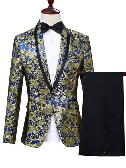 Floral Print Two Piece Slim Men's Dress Suit
