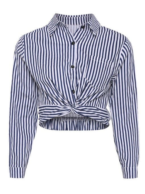 Long Sleeve Stripe Twist Front Women's Shirts