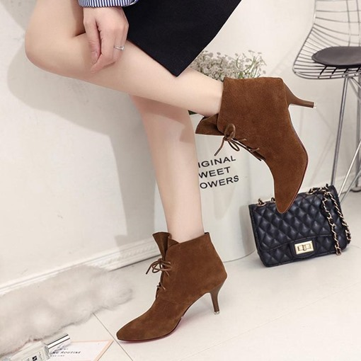Suede Lace-Up Stiletto Heel Pointed Toe Women's Ankle Boots