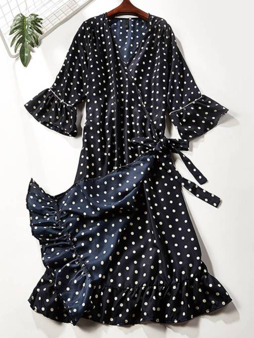 Dark Blue Polka Dots Women's Day Dress