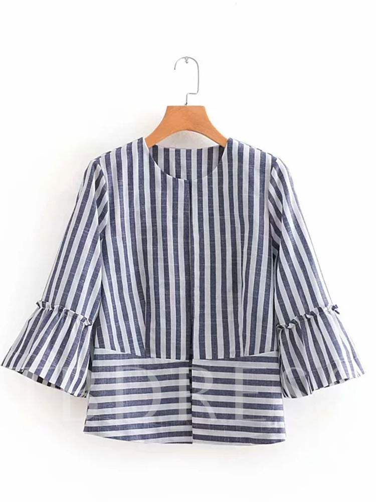 Buy Bell Sleeve Stripe Frilled Women's Blouse, Spring,Fall, 13368208 for $14.71 in TBDress store