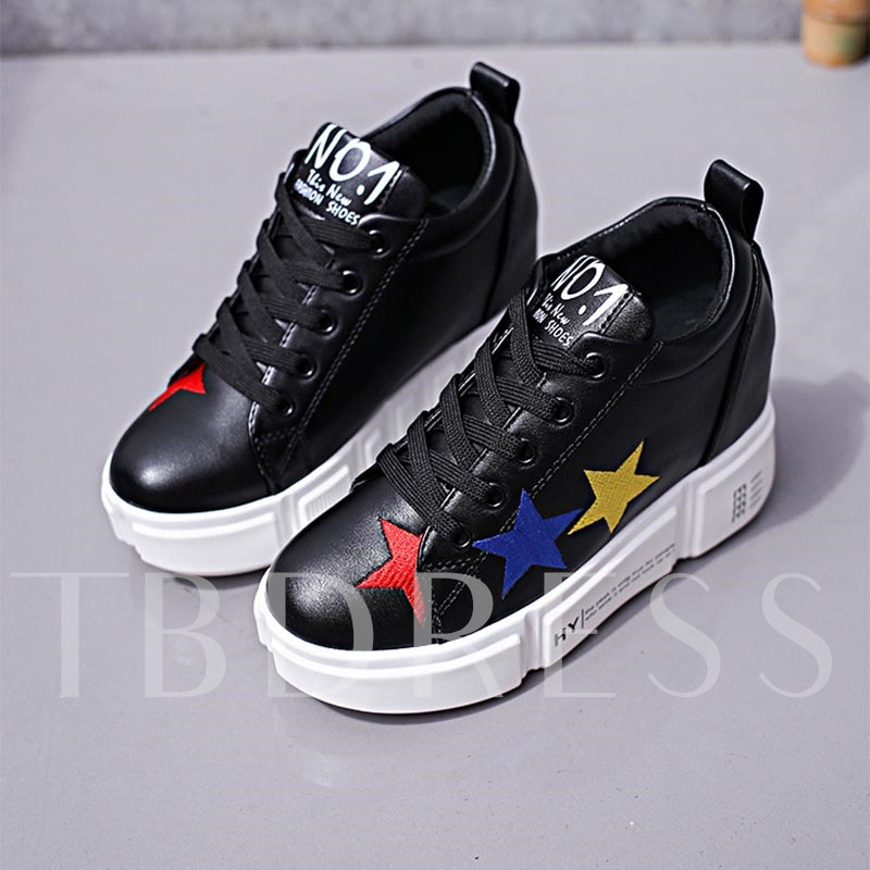 Buy Round Toe Lace-Up Stars Embroidery Platform Women's Sneaker, Spring,Summer,Fall, 13366357 for $30.49 in TBDress store