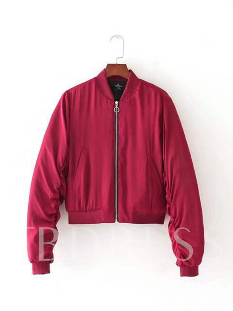 Buy Sweet Candy Color Stand Collar Zipper Women's Jacket, Spring,Fall, 13368237 for $20.22 in TBDress store