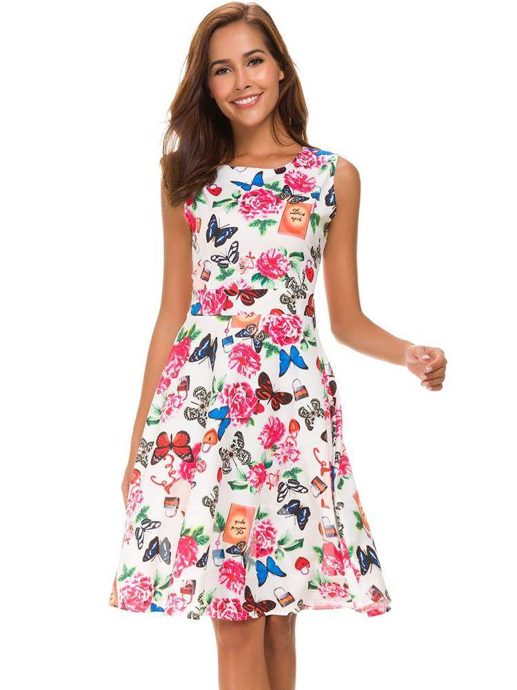 Buy Round Neck Sleeveless Floral Prints Dress, Summer, 13366022 for $15.07 in TBDress store