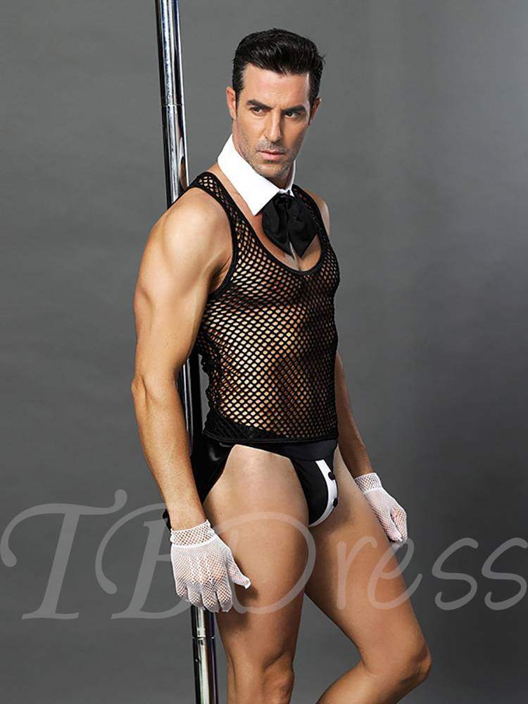 Men's Sexy Lingerie Fishnet Bowknot Waiter Costume