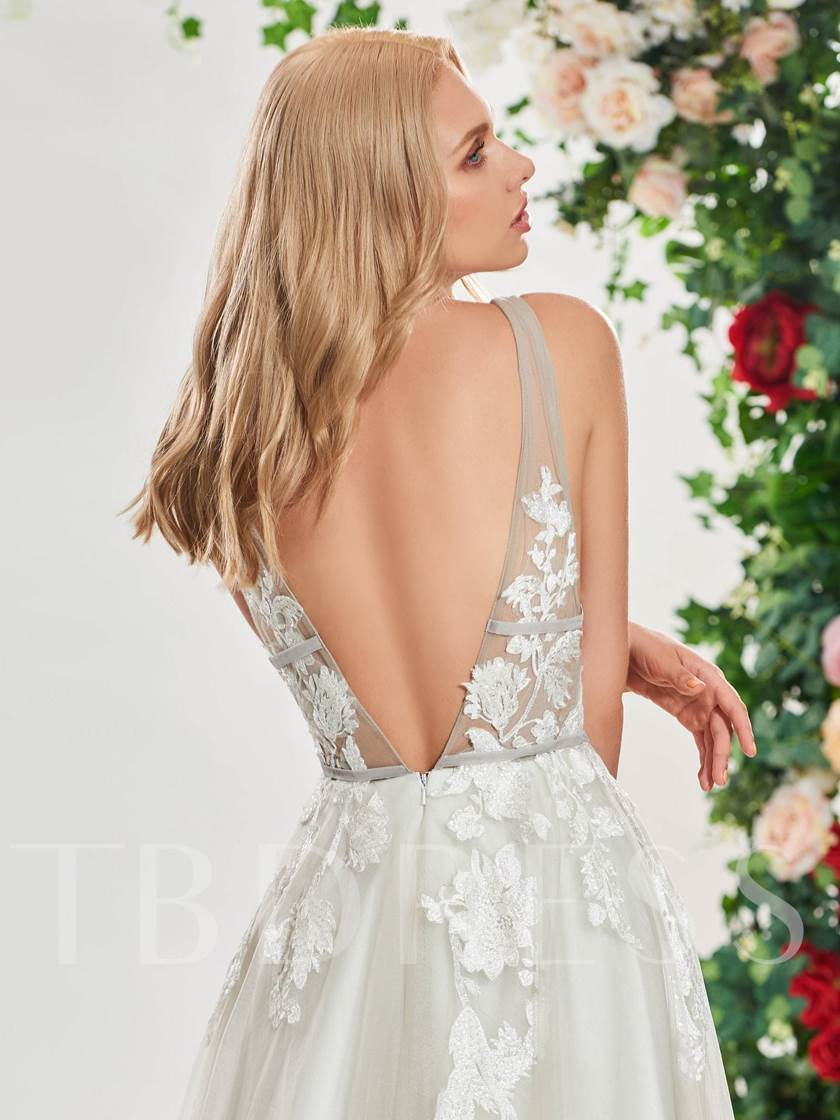 Deep V-Neck Appliques Wedding Dress
