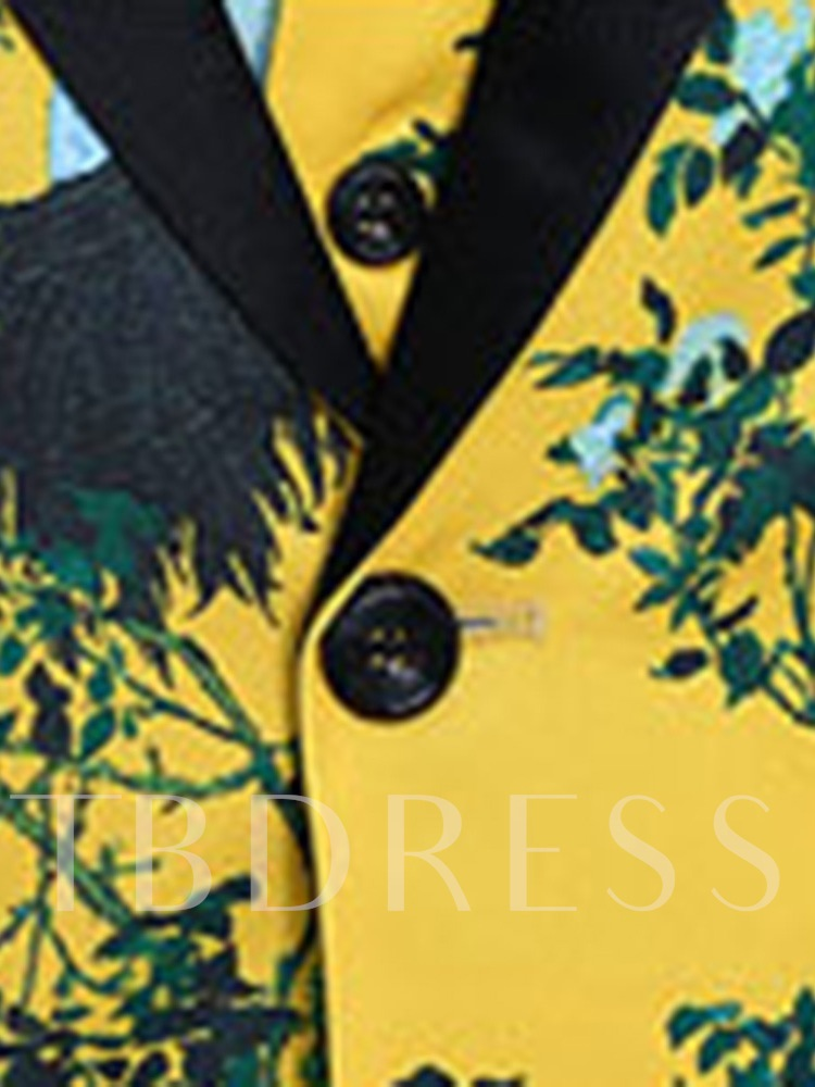 Yellow Chinese Style Three Piece Men's Dress Suit