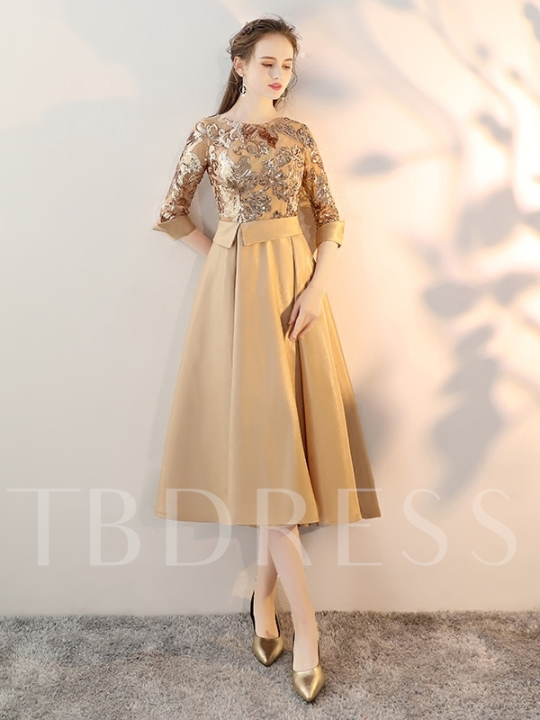 A-Line Jewel Sashes Sequins Tea-Length Prom Dress