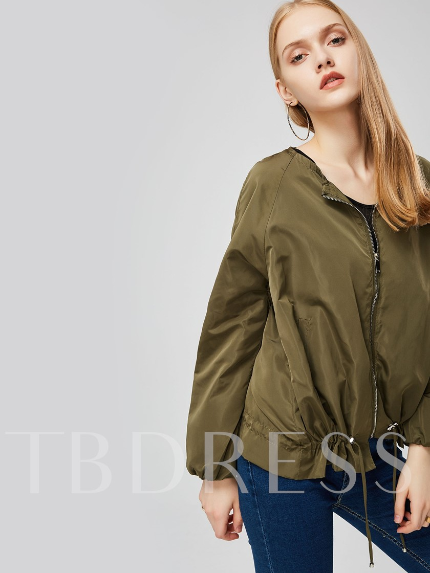 Camo Green Zipper Up Scoop Neck Women's Jacket