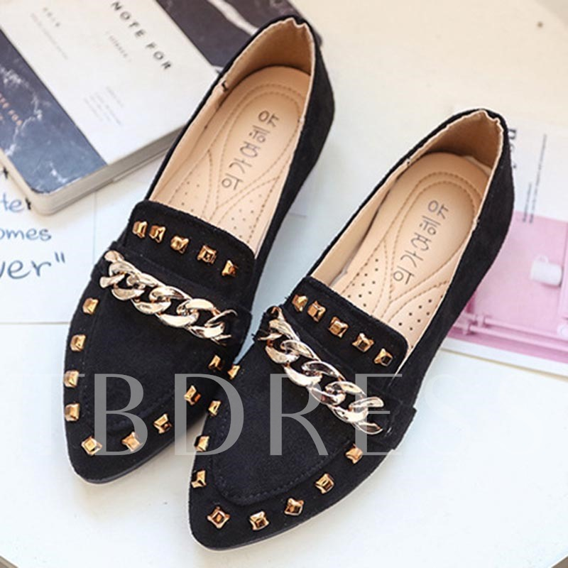 Buy Slip-On Rivet Pointed Toe Block Heel Trendy Women's Flats, Spring,Summer,Fall, 13366374 for $24.37 in TBDress store