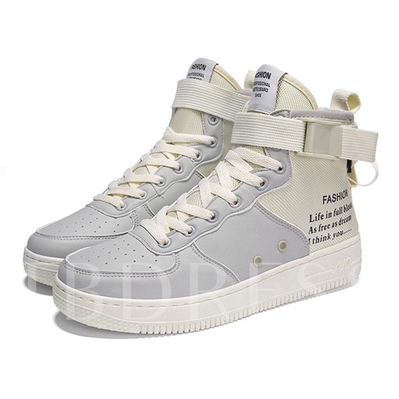Round Toe Buckle Zipper Letter Prined High Top Men's Sneakers