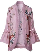 Bell Sleeve Floral Hollow Out Lace Women's Cape