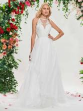 Halter Beaded Appliques Backless Wedding Dress