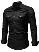 Lapel Vintage Slim Men's Denim Shirt