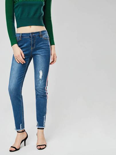 Side Striped Ripped Womens Jeans 13368568