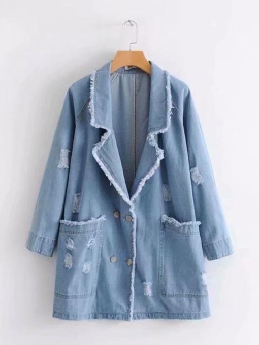 Tassel Dual Pocket Notched Lapel Women's Denim Trench Coat