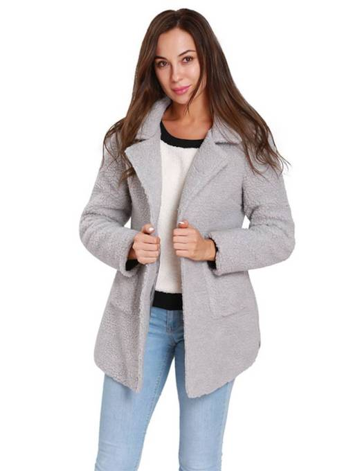One Button Dual Pocket Notch Neck Women's Overcoat