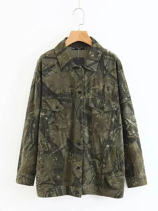 Single-Breasted Pocket Camo Women's Trench Coat