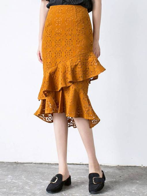 Lace Patchwork Ruffled Women's Maxi Skirt