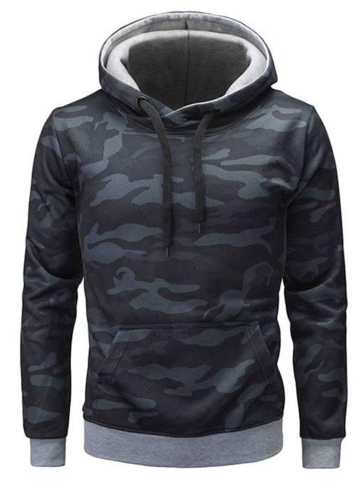 Camouflage Hooded Plain Men's Sweatshirt