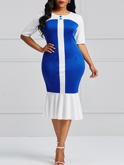 Half Sleeves Patchwork Women's Sheath Dress