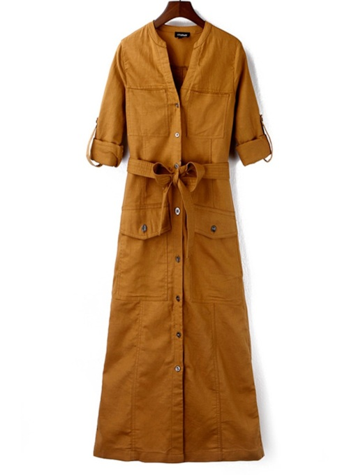 Long Length Single-Breasted Belt Women's Trench Coat