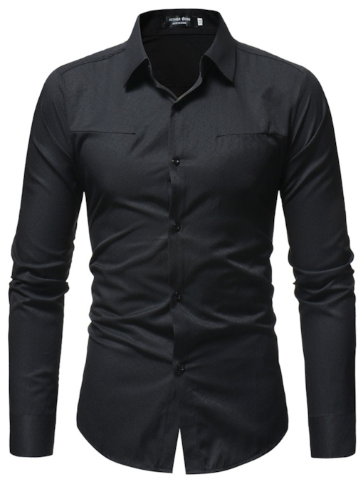 Lapel Single-Breasted Solid Color Plain Slim Men's Shirt