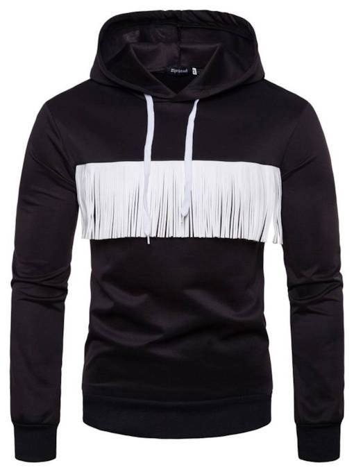 White Black Patchwork Slim Men's Hoodie
