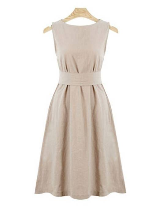 Round Neck Sleeveless High Waist Day Dress