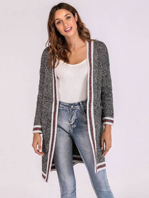 Color Block Open Front Stripe Women's Cardigan