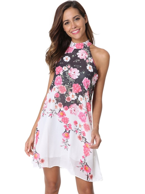 Stand Collar Sleeveless Floral Prints Day Dress