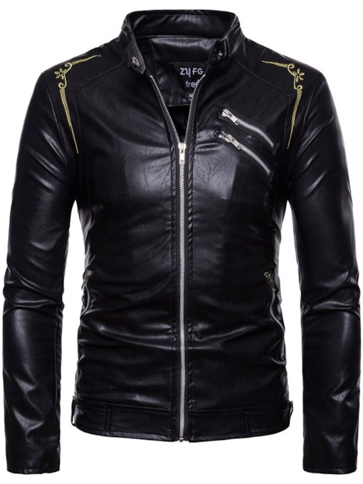 Embroidery Zipper PU Slim Men's Jacket