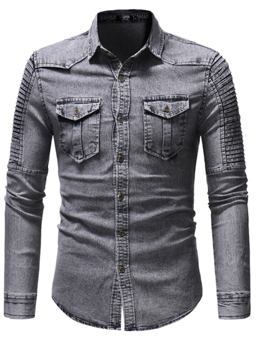 Lapel Worn Vintage Slim Men's Denim Shirt